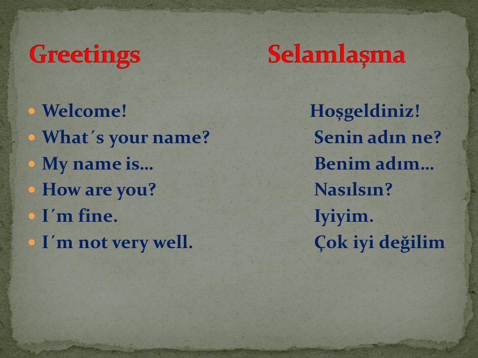 Greetings Selamlaşma Welcome! Hoşgeldiniz!