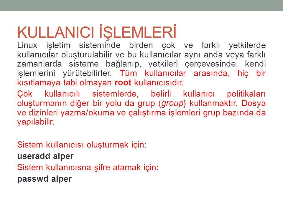 KULLANICI İŞLEMLERİ