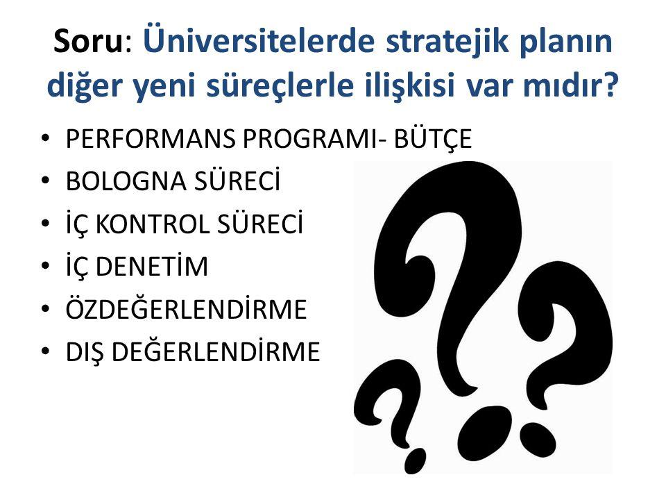 Soru: Üniversitelerde stratejik planın diğer yeni süreçlerle ilişkisi var mıdır