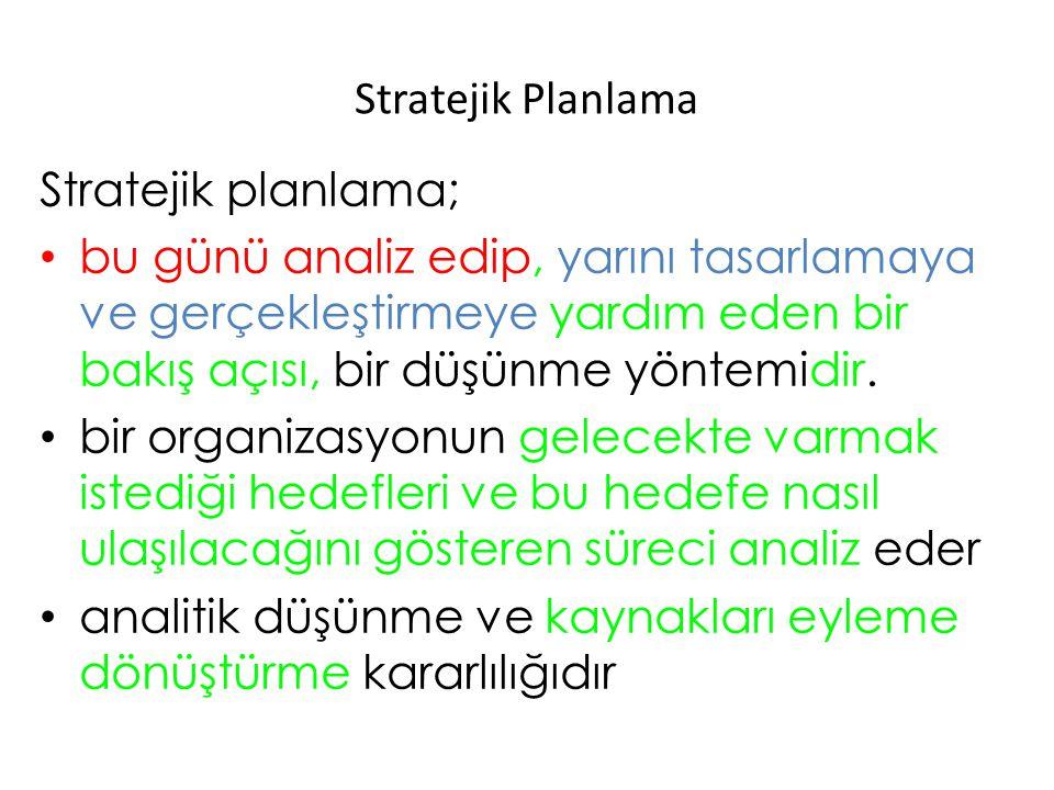 Stratejik Planlama Stratejik planlama;