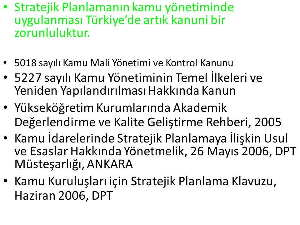 Kamu Kuruluşları için Stratejik Planlama Klavuzu, Haziran 2006, DPT