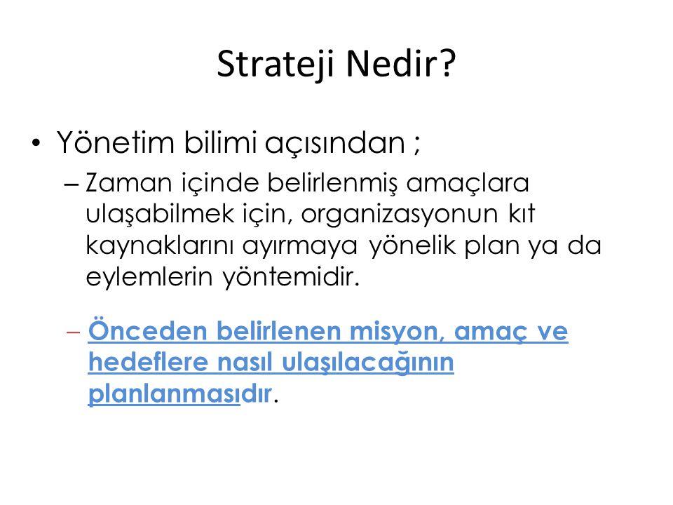 Strateji Nedir Yönetim bilimi açısından ;