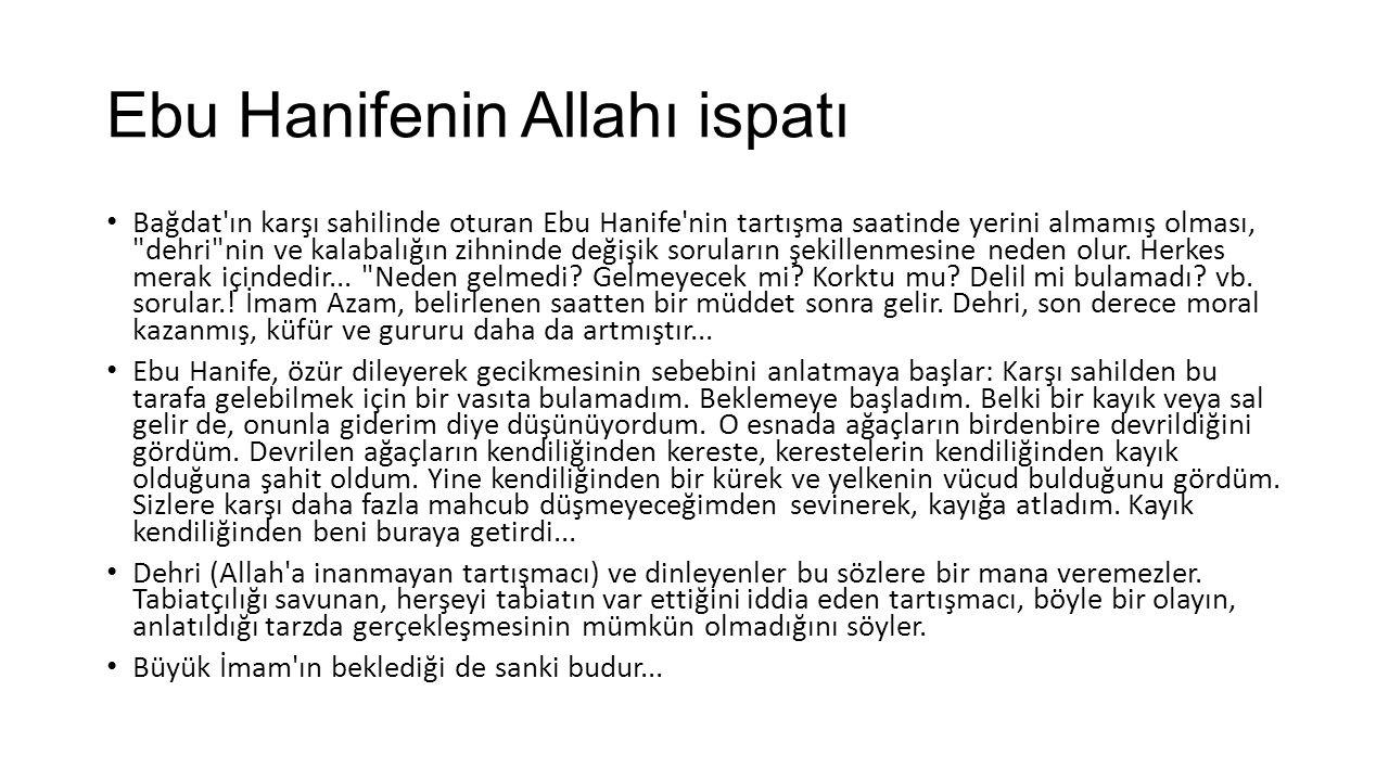 Ebu Hanifenin Allahı ispatı