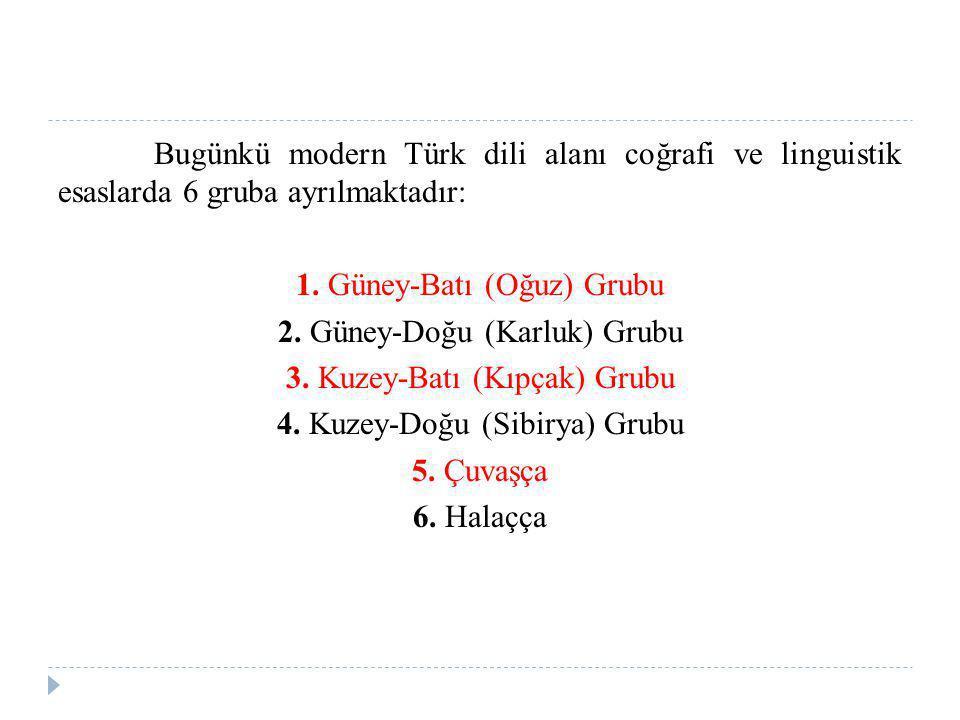 Bugünkü modern Türk dili alanı coğrafi ve linguistik esaslarda 6 gruba ayrılmaktadır: 1.