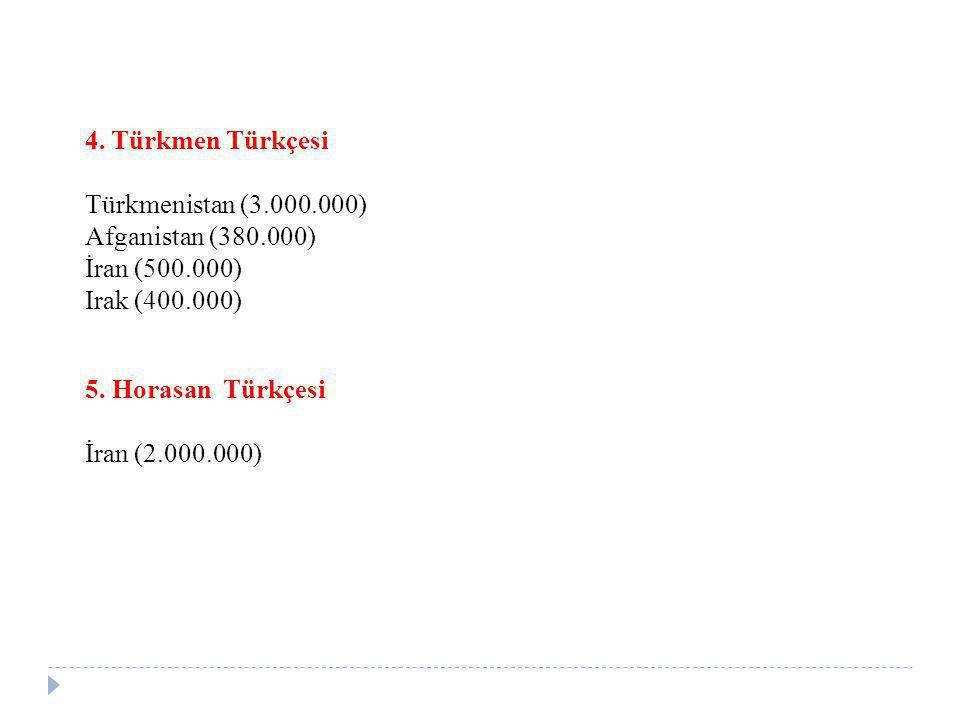 4. Türkmen Türkçesi Türkmenistan (3.000.000) Afganistan (380.000) İran (500.000) Irak (400.000) 5. Horasan Türkçesi.