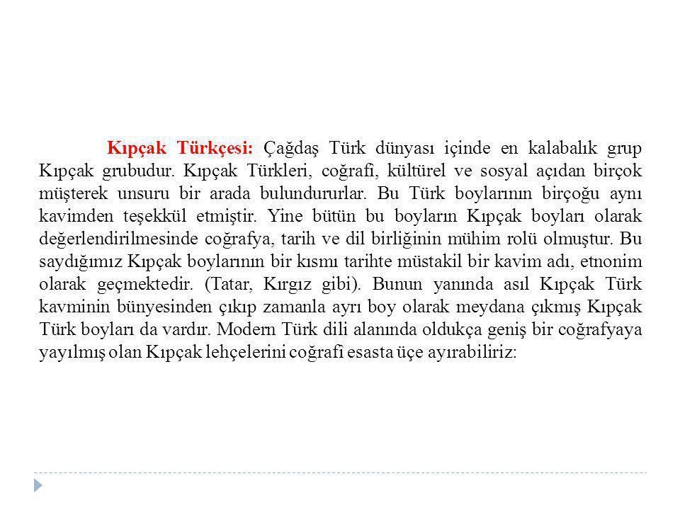 Kıpçak Türkçesi: Çağdaş Türk dünyası içinde en kalabalık grup Kıpçak grubudur.