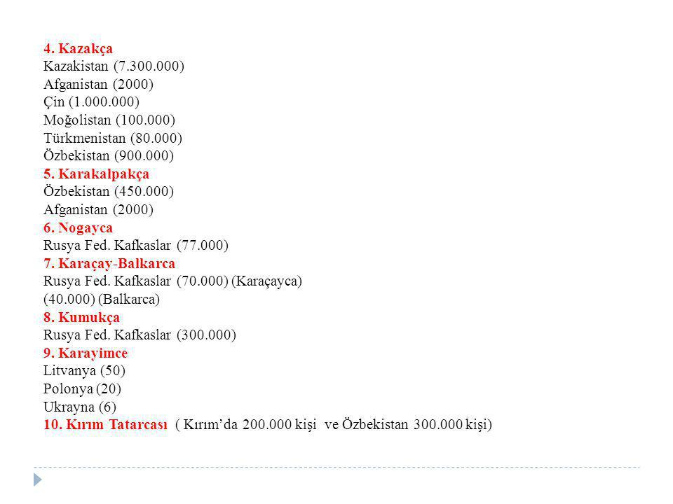 4. Kazakça Kazakistan (7.300.000) Afganistan (2000) Çin (1.000.000) Moğolistan (100.000) Türkmenistan (80.000)