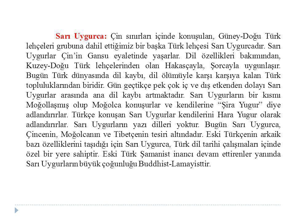Sarı Uygurca: Çin sınırları içinde konuşulan, Güney-Doğu Türk lehçeleri grubuna dahil ettiğimiz bir başka Türk lehçesi Sarı Uygurcadır.