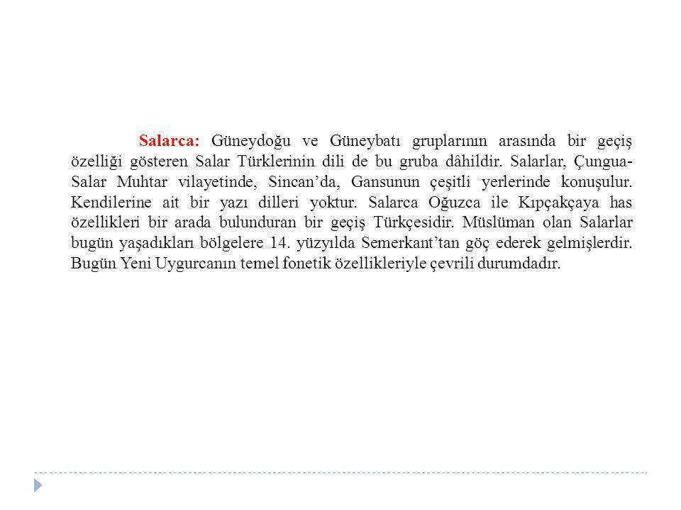 Salarca: Güneydoğu ve Güneybatı gruplarının arasında bir geçiş özelliği gösteren Salar Türklerinin dili de bu gruba dâhildir.