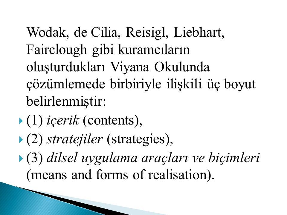 Wodak, de Cilia, Reisigl, Liebhart, Fairclough gibi kuramcıların oluşturdukları Viyana Okulunda çözümlemede birbiriyle ilişkili üç boyut belirlenmiştir: