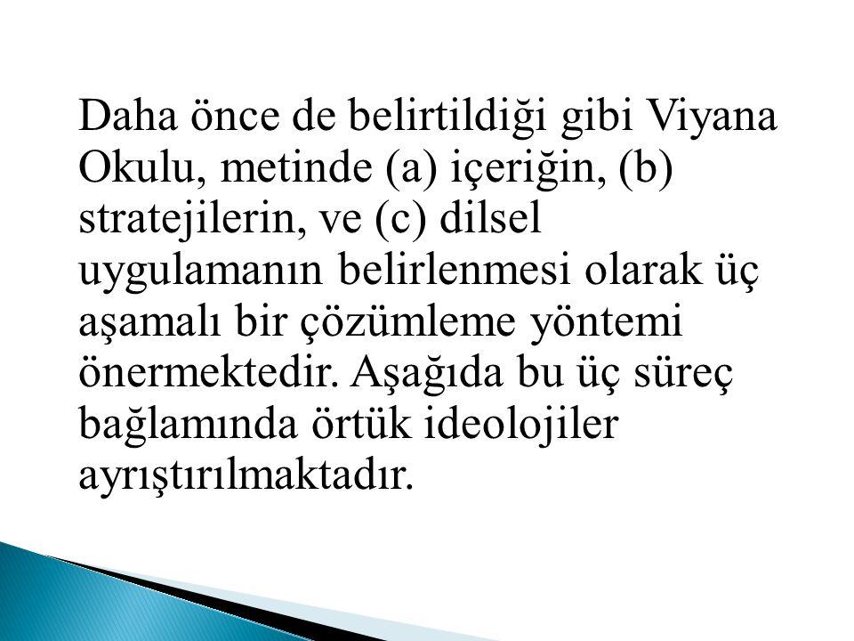 Daha önce de belirtildiği gibi Viyana Okulu, metinde (a) içeriğin, (b) stratejilerin, ve (c) dilsel uygulamanın belirlenmesi olarak üç aşamalı bir çözümleme yöntemi önermektedir.