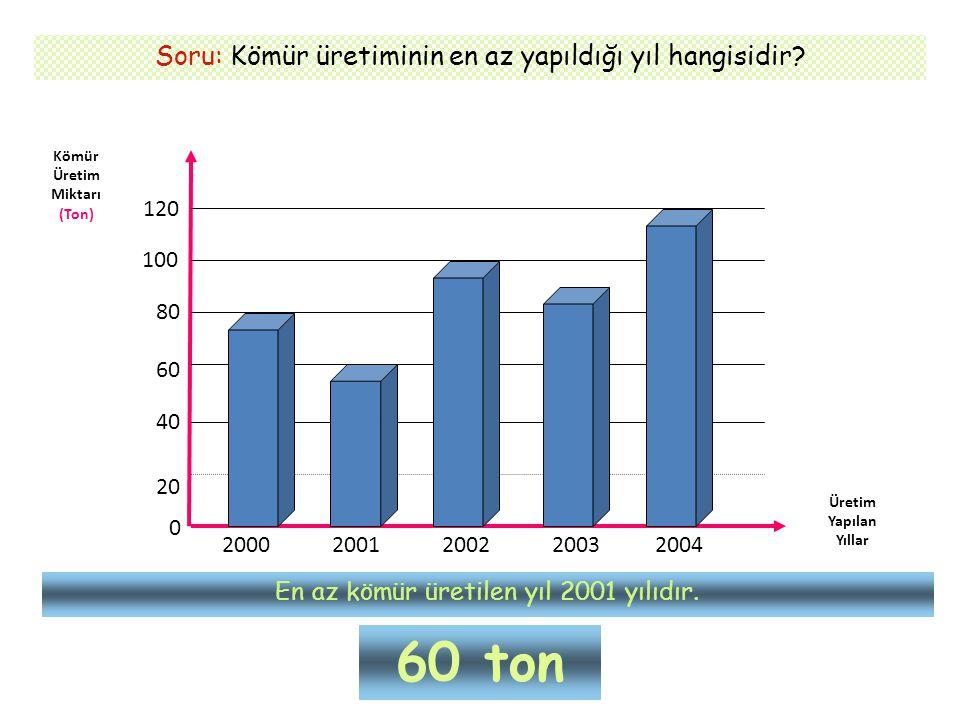 60 ton Soru: Kömür üretiminin en az yapıldığı yıl hangisidir