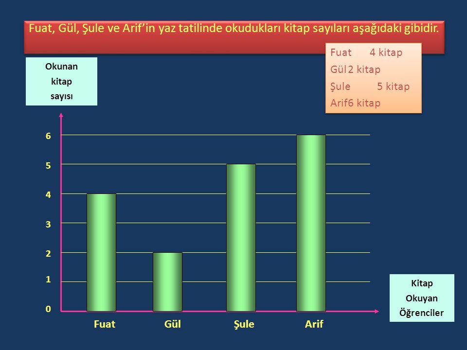 Fuat, Gül, Şule ve Arif'in yaz tatilinde okudukları kitap sayıları aşağıdaki gibidir.
