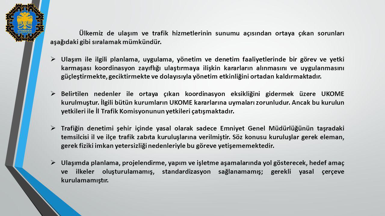 Ülkemiz de ulaşım ve trafik hizmetlerinin sunumu açısından ortaya çıkan sorunları aşağıdaki gibi sıralamak mümkündür.