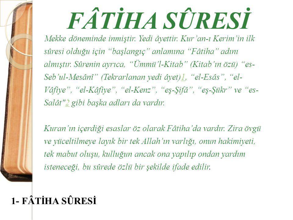 FÂTİHA SÛRESİ 1- FÂTİHA SÛRESİ