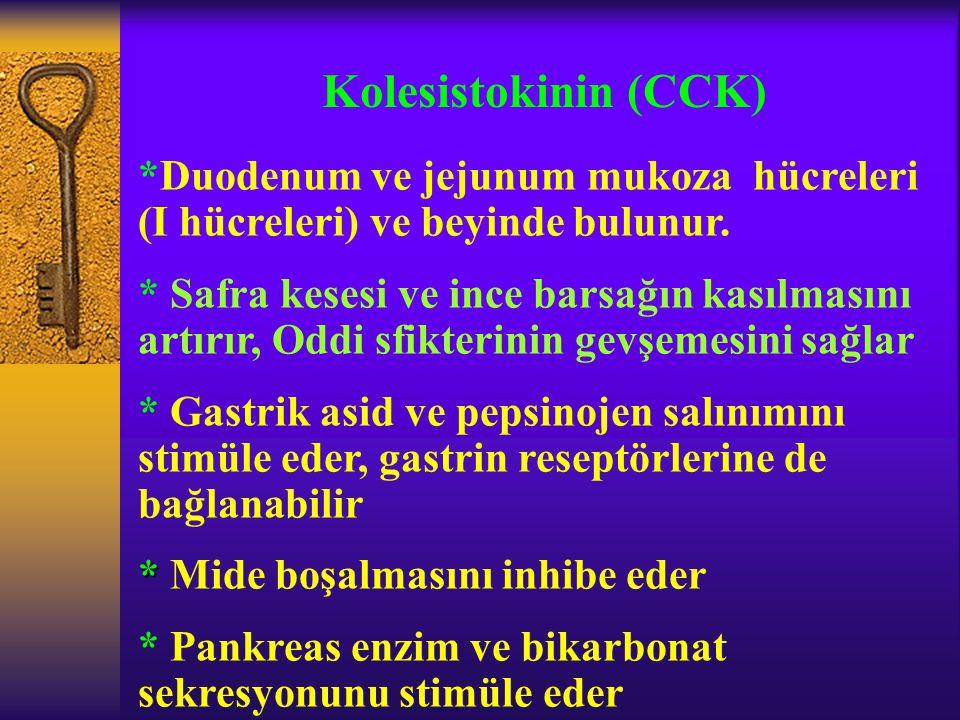 Kolesistokinin (CCK) *Duodenum ve jejunum mukoza hücreleri (I hücreleri) ve beyinde bulunur.