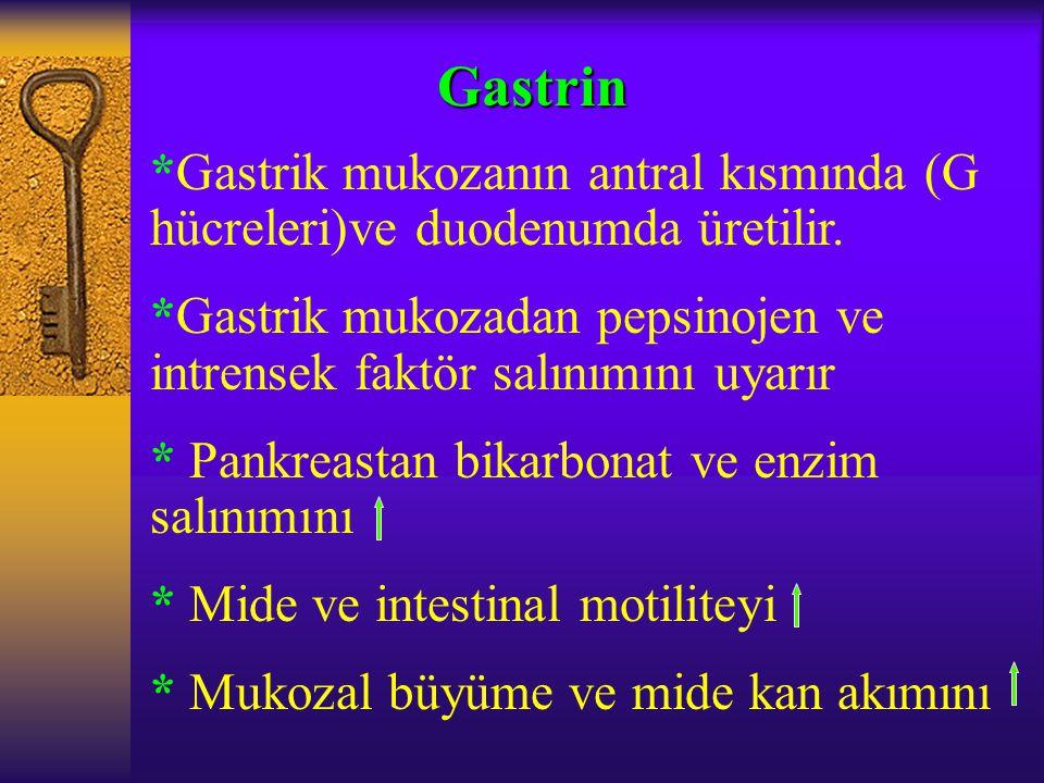 Gastrin *Gastrik mukozanın antral kısmında (G hücreleri)ve duodenumda üretilir. *Gastrik mukozadan pepsinojen ve intrensek faktör salınımını uyarır.