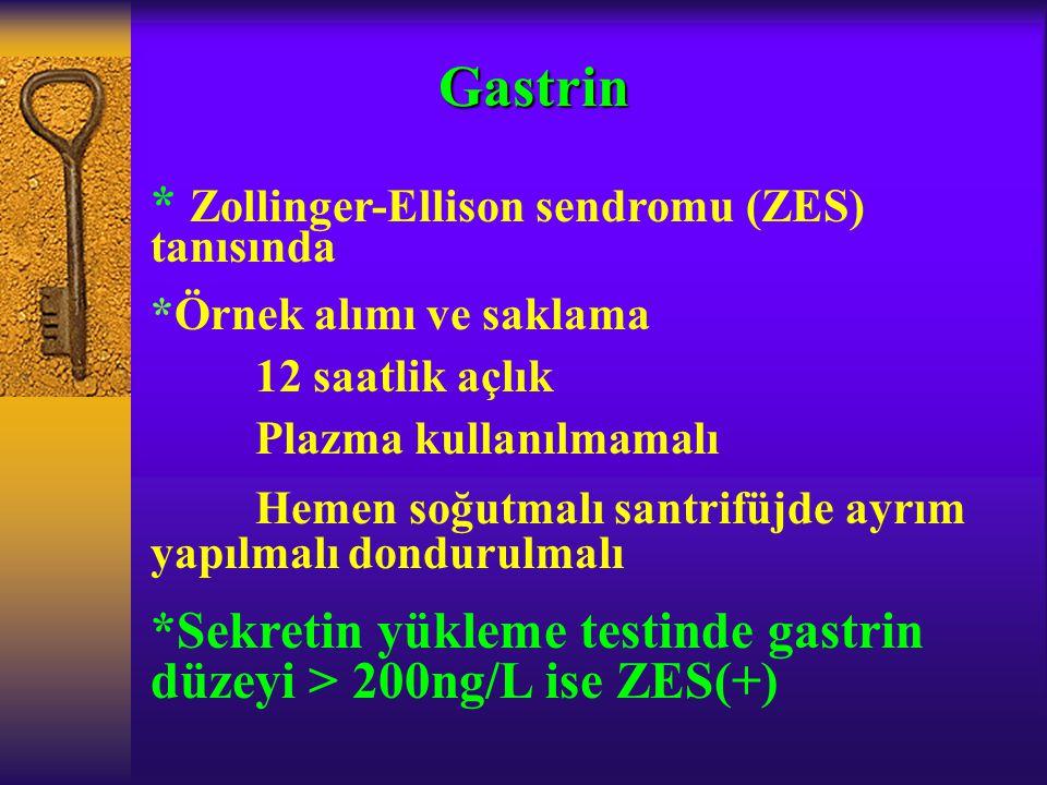 Gastrin * Zollinger-Ellison sendromu (ZES) tanısında