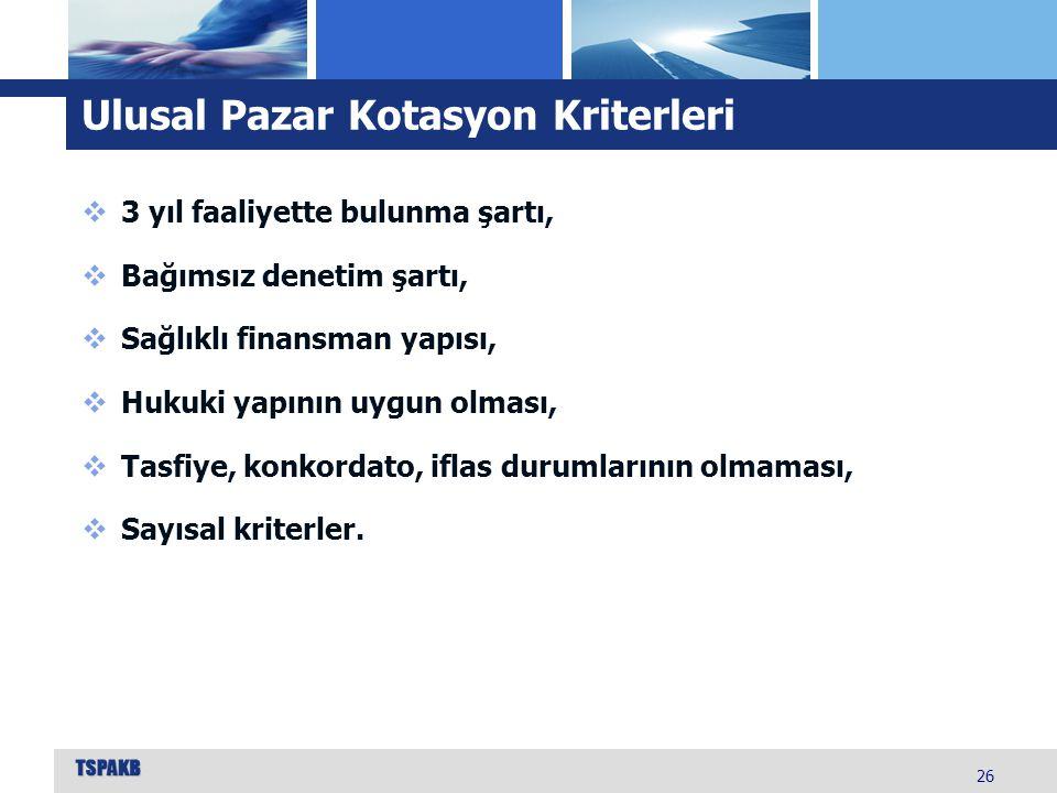 Ulusal Pazar Kotasyon Kriterleri