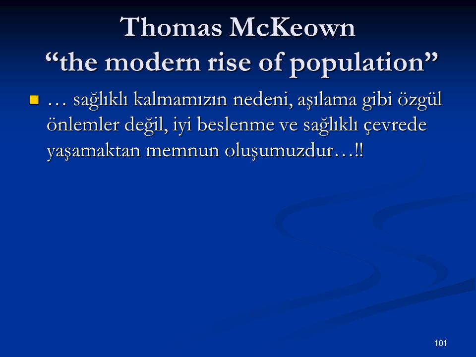 Thomas McKeown the modern rise of population