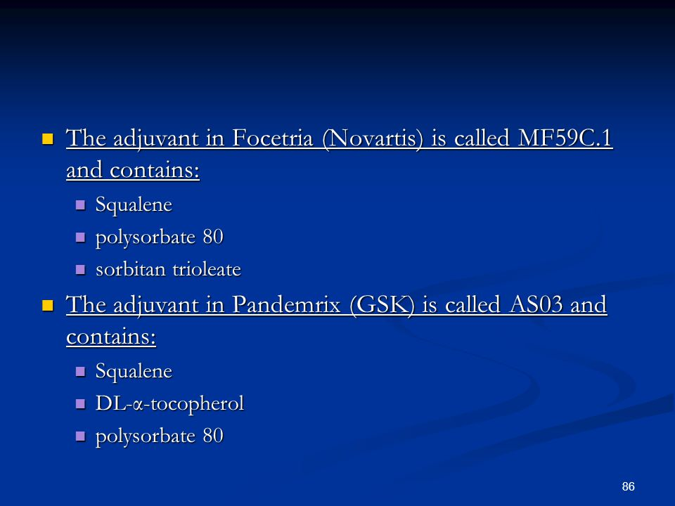 The adjuvant in Focetria (Novartis) is called MF59C.1 and contains: