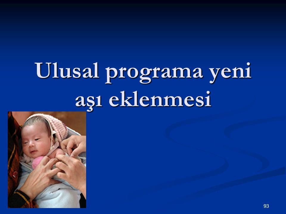Ulusal programa yeni aşı eklenmesi
