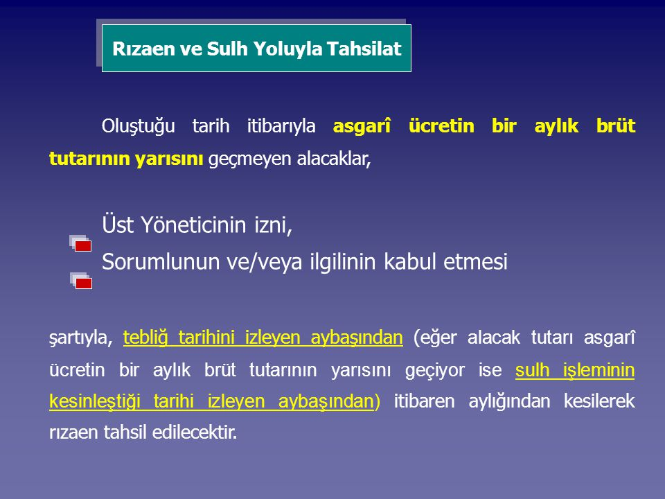 Rızaen ve Sulh Yoluyla Tahsilat