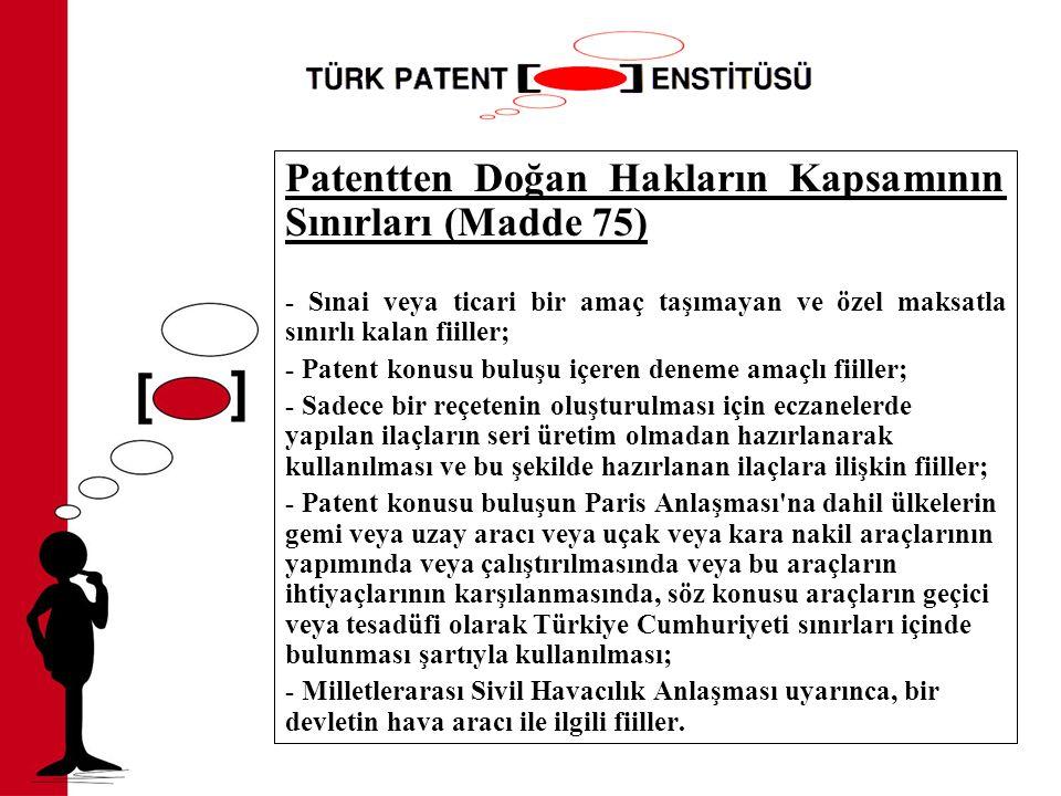 Patentten Doğan Hakların Kapsamının Sınırları (Madde 75)