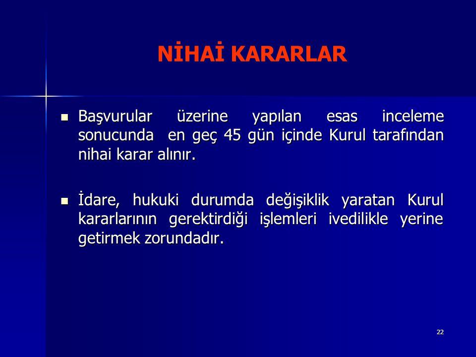 NİHAİ KARARLAR Başvurular üzerine yapılan esas inceleme sonucunda en geç 45 gün içinde Kurul tarafından nihai karar alınır.