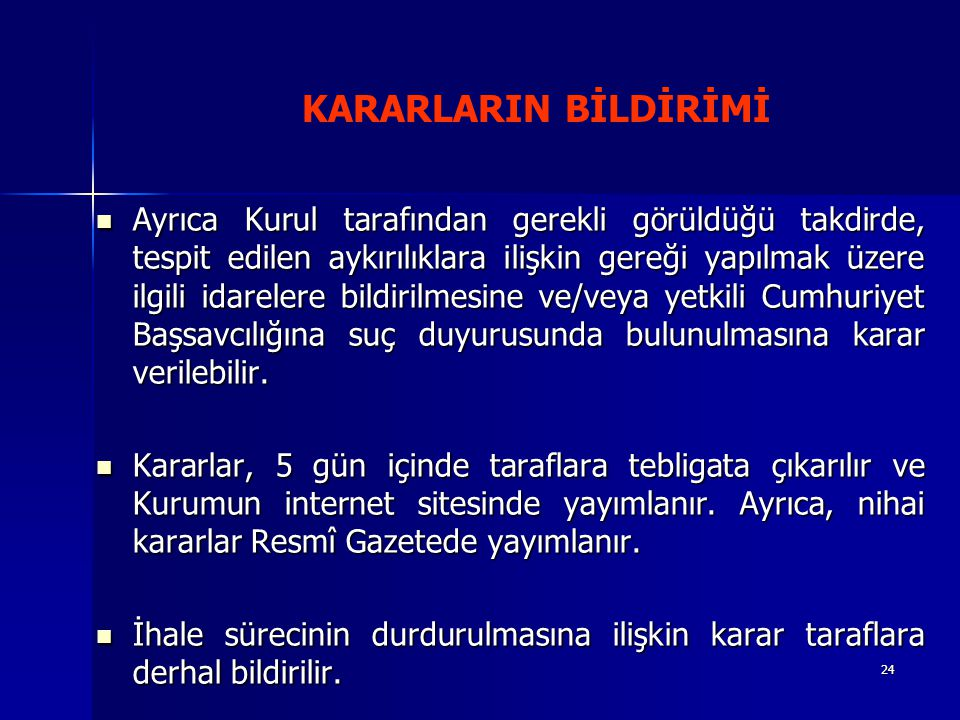 KARARLARIN BİLDİRİMİ