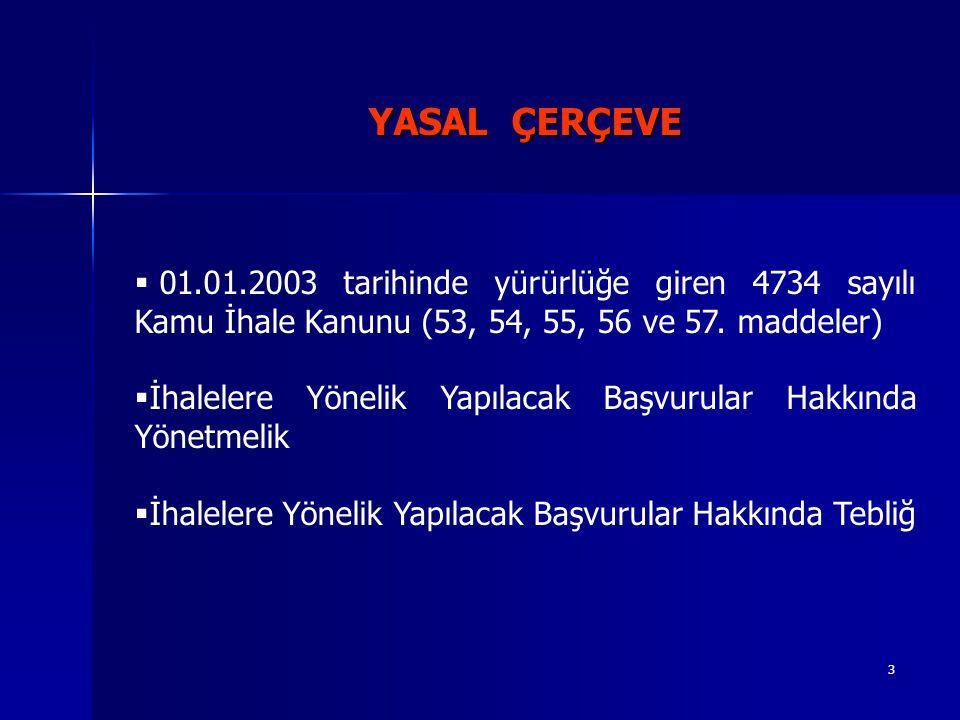 YASAL ÇERÇEVE 01.01.2003 tarihinde yürürlüğe giren 4734 sayılı Kamu İhale Kanunu (53, 54, 55, 56 ve 57. maddeler)