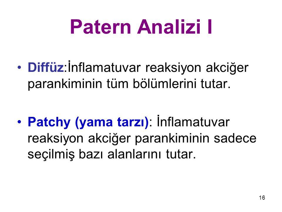 Patern Analizi I Diffüz:İnflamatuvar reaksiyon akciğer parankiminin tüm bölümlerini tutar.