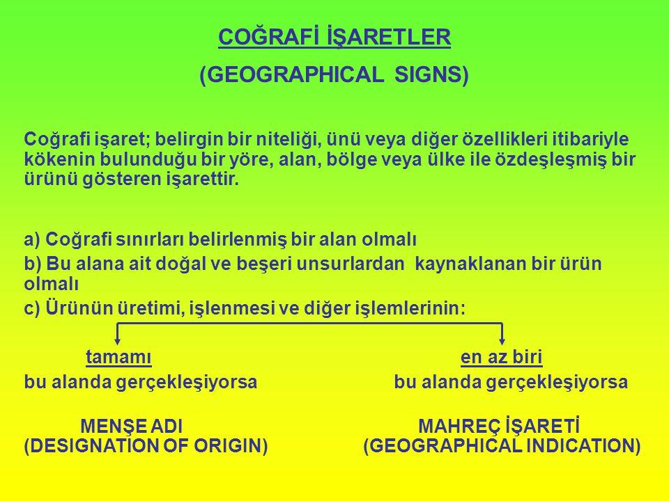 COĞRAFİ İŞARETLER (GEOGRAPHICAL SIGNS)