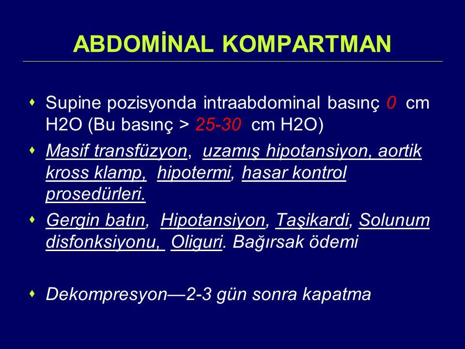 ABDOMİNAL KOMPARTMAN Supine pozisyonda intraabdominal basınç 0 cm H2O (Bu basınç > 25-30 cm H2O)