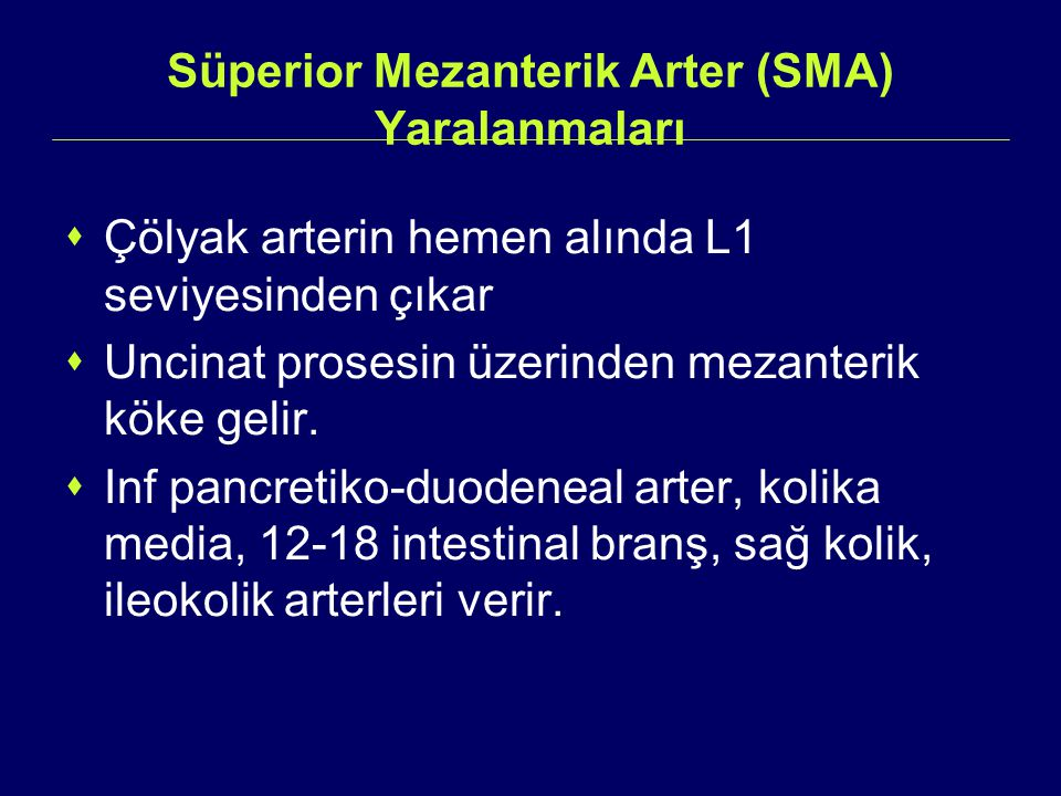 Süperior Mezanterik Arter (SMA) Yaralanmaları