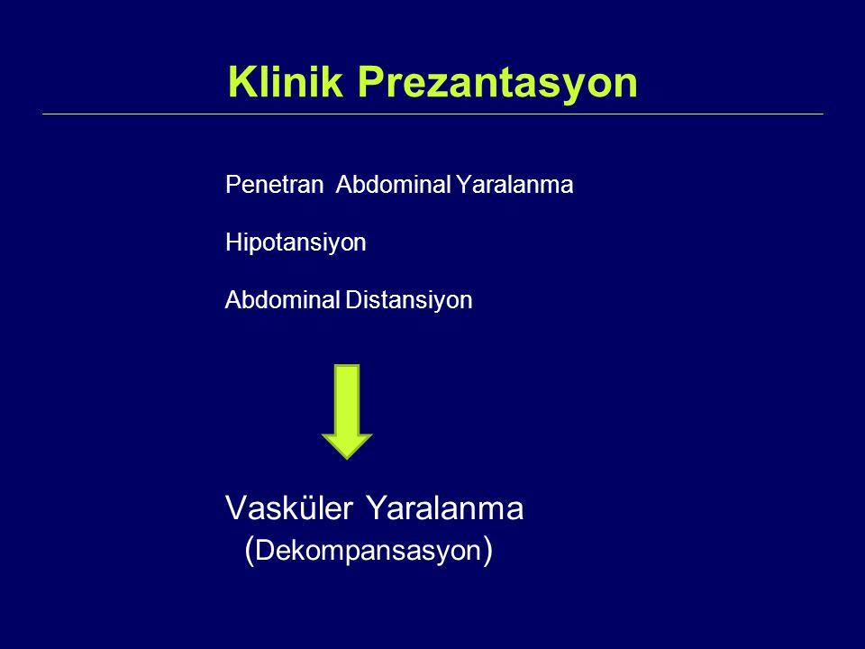 Klinik Prezantasyon Vasküler Yaralanma (Dekompansasyon)