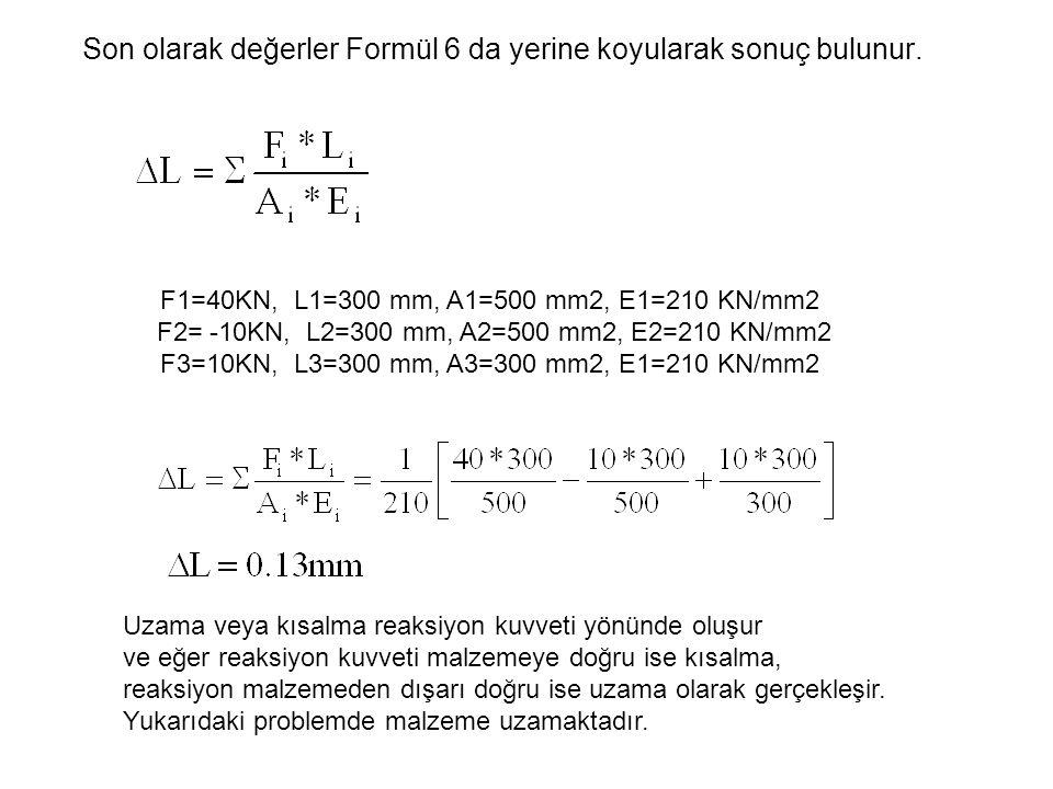 Son olarak değerler Formül 6 da yerine koyularak sonuç bulunur.