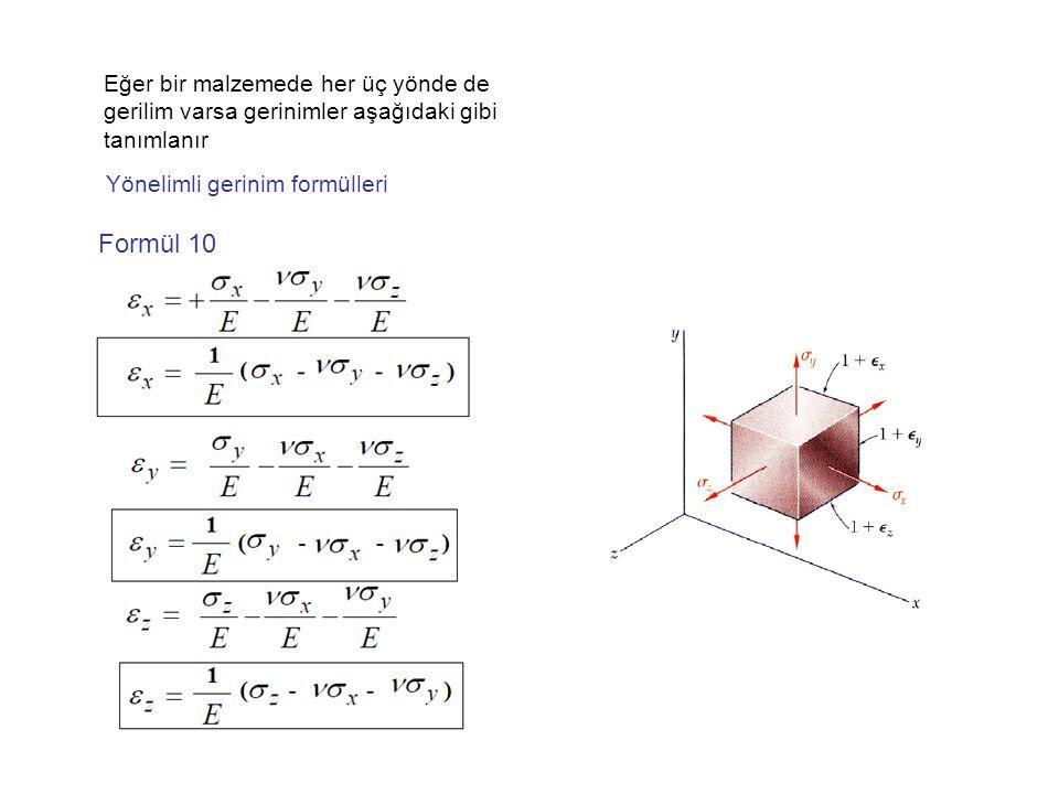 Eğer bir malzemede her üç yönde de gerilim varsa gerinimler aşağıdaki gibi tanımlanır