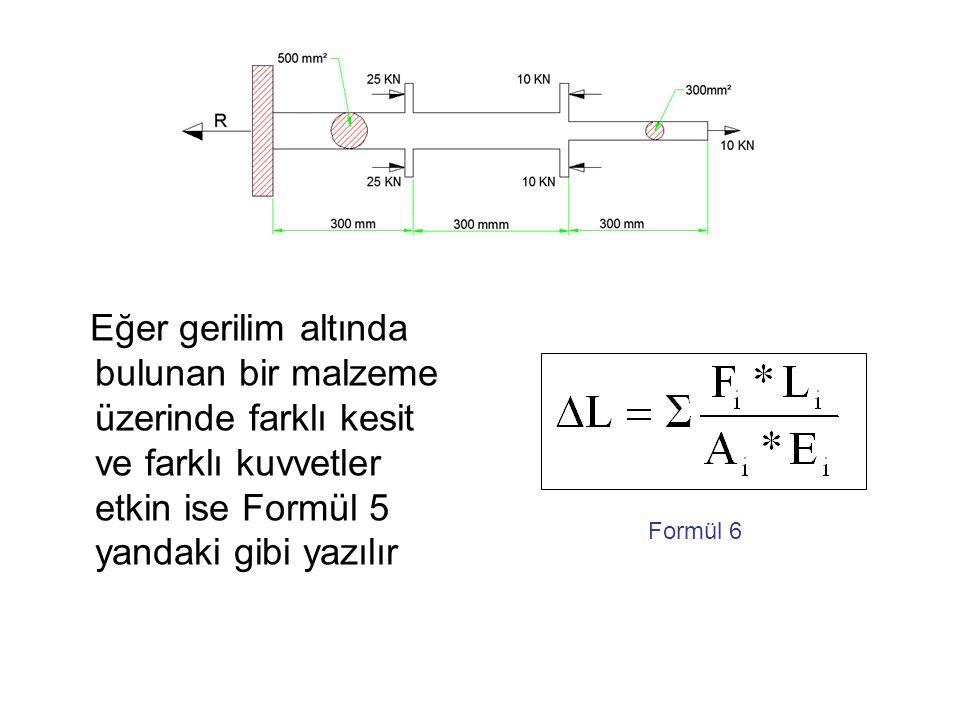 Eğer gerilim altında bulunan bir malzeme üzerinde farklı kesit ve farklı kuvvetler etkin ise Formül 5 yandaki gibi yazılır