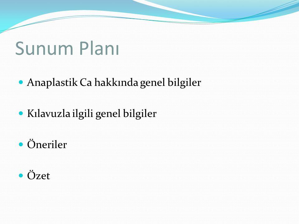Sunum Planı Anaplastik Ca hakkında genel bilgiler