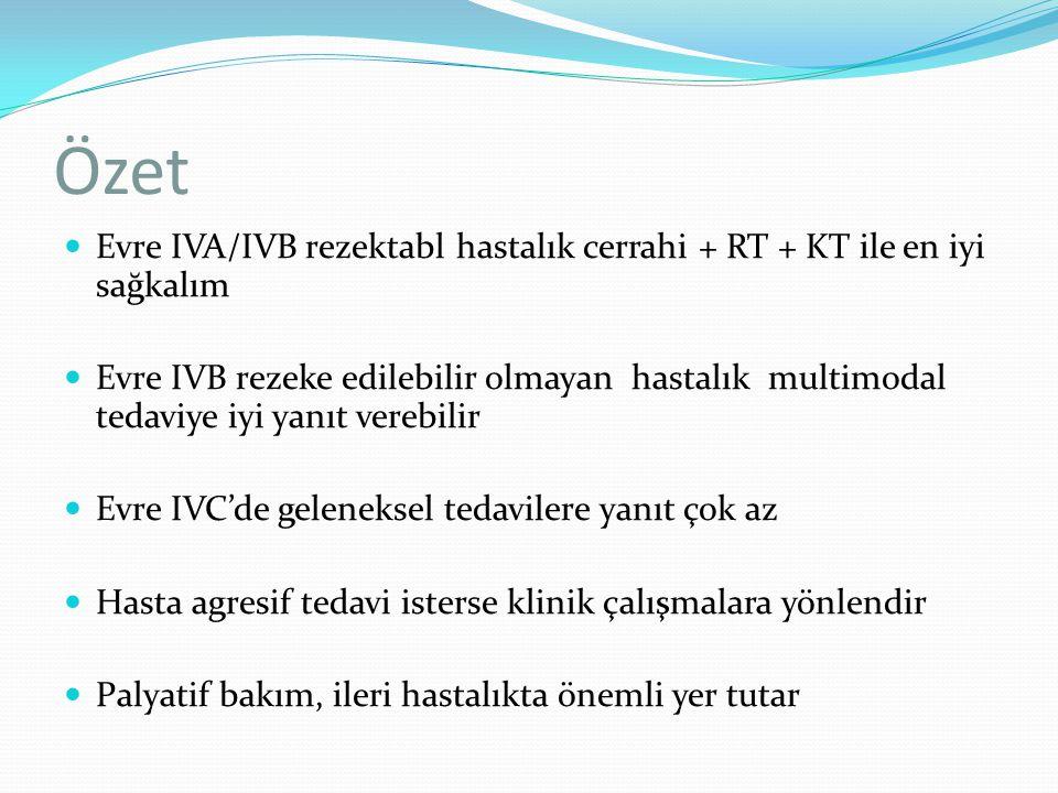 Özet Evre IVA/IVB rezektabl hastalık cerrahi + RT + KT ile en iyi sağkalım.