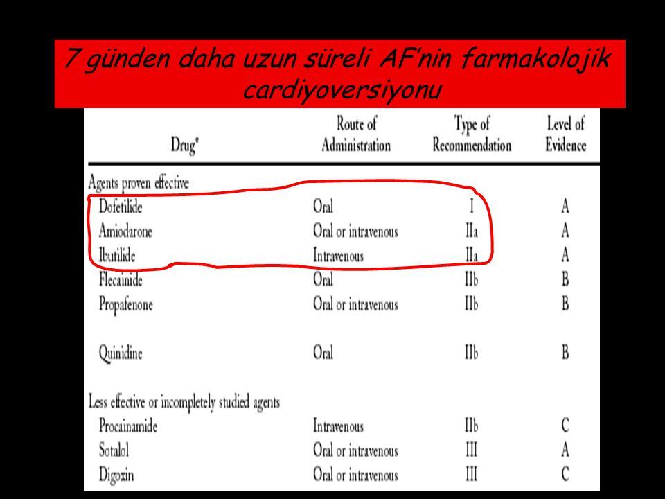 7 günden daha uzun süreli AF'nin farmakolojik cardiyoversiyonu