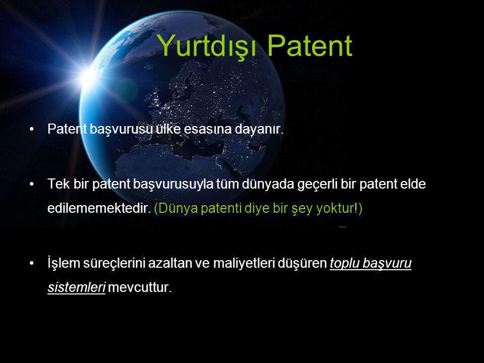 Yurtdışı Patent Patent başvurusu ülke esasına dayanır.