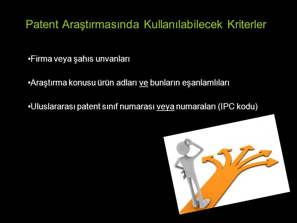 Patent Araştırmasında Kullanılabilecek Kriterler