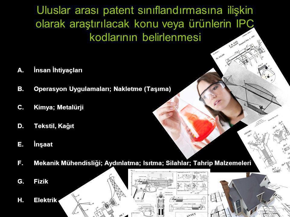 Uluslar arası patent sınıflandırmasına ilişkin olarak araştırılacak konu veya ürünlerin IPC kodlarının belirlenmesi