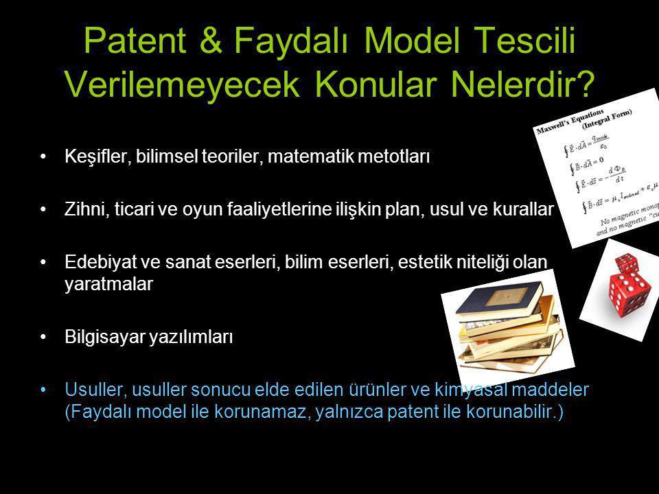 Patent & Faydalı Model Tescili Verilemeyecek Konular Nelerdir