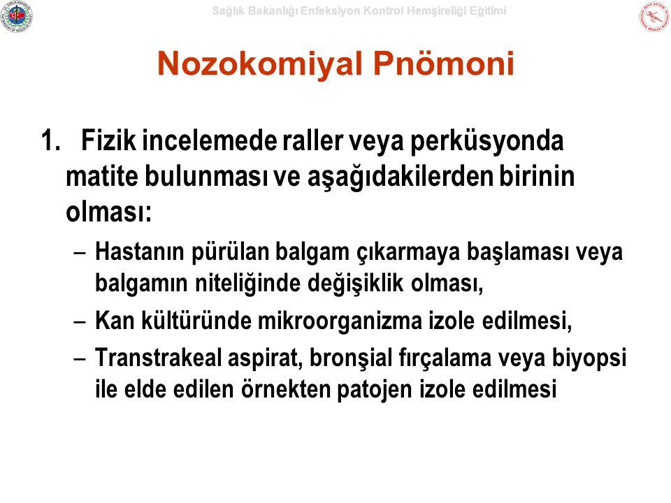 Nozokomiyal Pnömoni 1. Fizik incelemede raller veya perküsyonda matite bulunması ve aşağıdakilerden birinin olması: