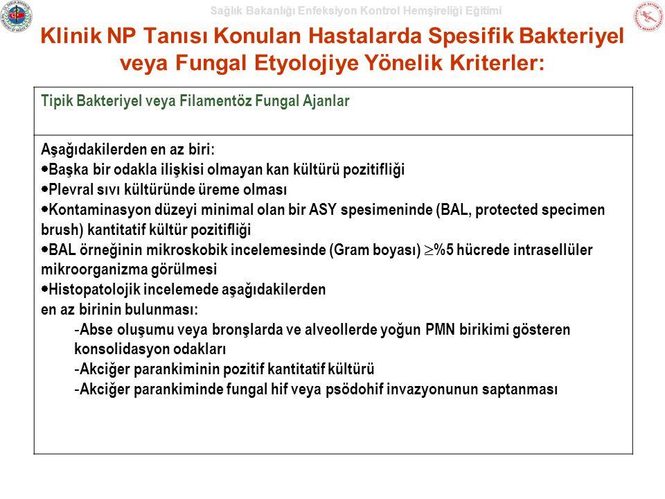 Klinik NP Tanısı Konulan Hastalarda Spesifik Bakteriyel veya Fungal Etyolojiye Yönelik Kriterler: