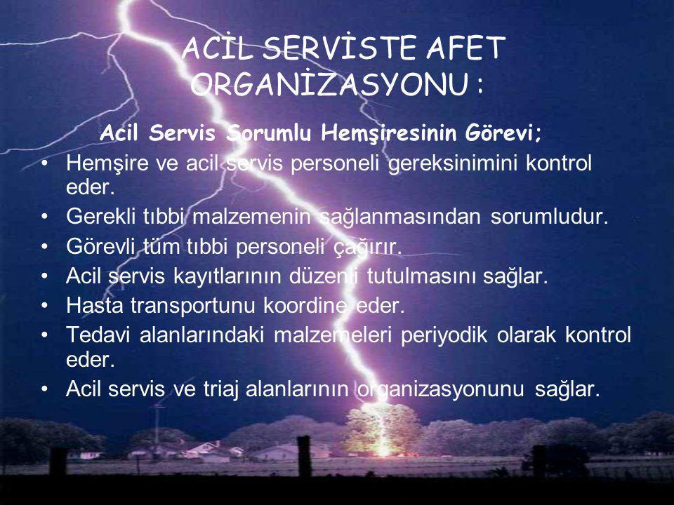 ACİL SERVİSTE AFET ORGANİZASYONU :