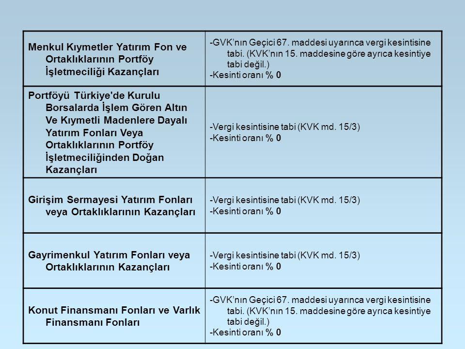 Girişim Sermayesi Yatırım Fonları veya Ortaklıklarının Kazançları